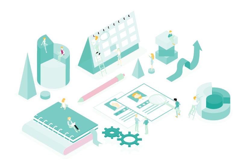 Design moderne représentant des personnes qui travaillent, recherchent et s'organisent